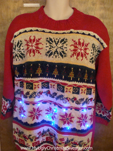 Nordic Themed 80s Light Up Ugly Xmas Sweater