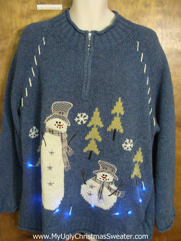 Blue Snowman Themed 2sided Light Up Ugly Xmas Sweater