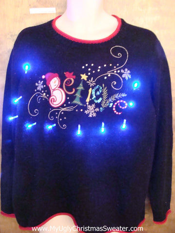 BELIEVE Funny Light Up Ugly Xmas Sweater
