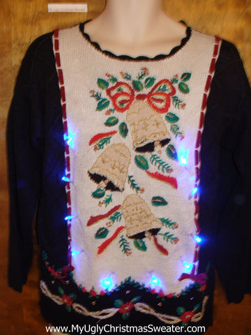 Horrible Tacky Bells and Bows Light Up Ugly Xmas Sweater