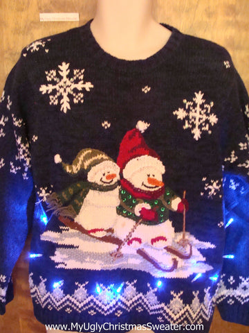 Skiing Snowmen 80s Light Up Ugly Xmas Sweater