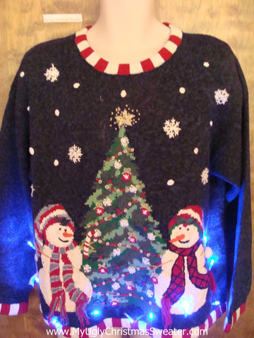 80s Snow and Candy Cane Trim Light Up Ugly Xmas Sweater