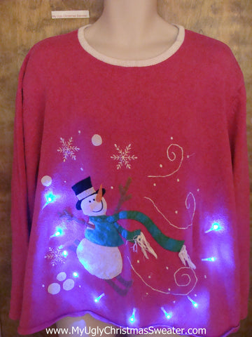 Funny Snowman on a Pink Light Up Ugly Xmas Sweater