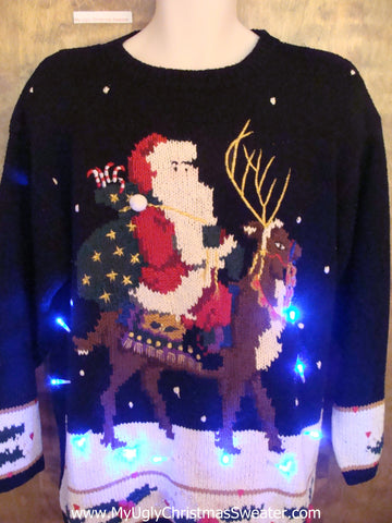 Best Fancy Santa and Reindeer Light Up Ugly Xmas Sweater