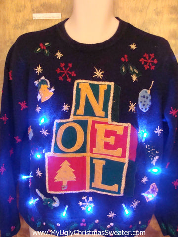 NOEL Bright Light Up Ugly Xmas Sweater