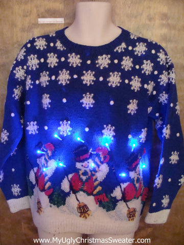 Sweet 80s Snowman Trio Light Up Ugly Xmas Sweater