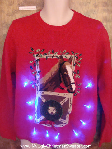 Happy Festive Horse Light Up Ugly Xmas Sweater