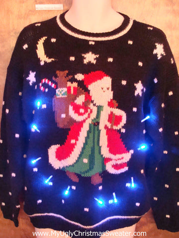 Santa with Huge Cape Light Up Ugly Xmas Sweater
