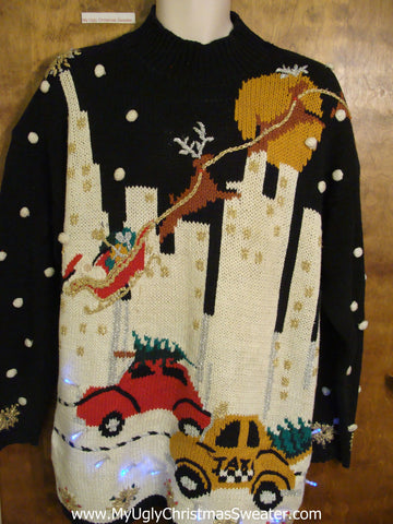 Best Vintage City Themed Reindeer Light Up Ugly Xmas Sweater