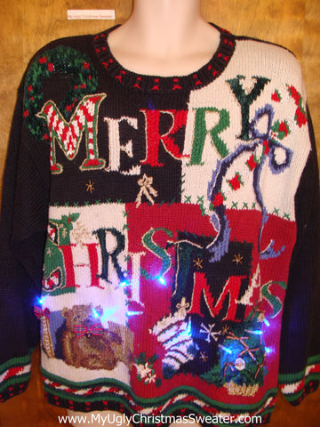 MERRY CHRISTMAS Light Up Ugly Xmas Sweater