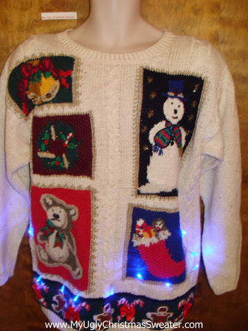Cheesy 80s Bear and Snowman Light Up Ugly Xmas Sweater