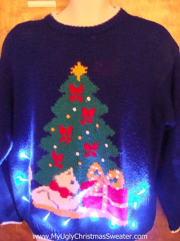 Bright 80s Tree and Scottie Dog Light Up Ugly Xmas Sweater