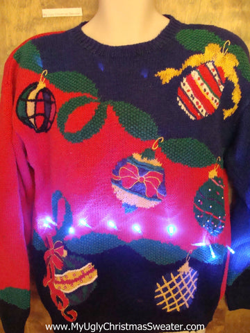 Bright Ornament Themed 80s Light Up Ugly Xmas Sweater