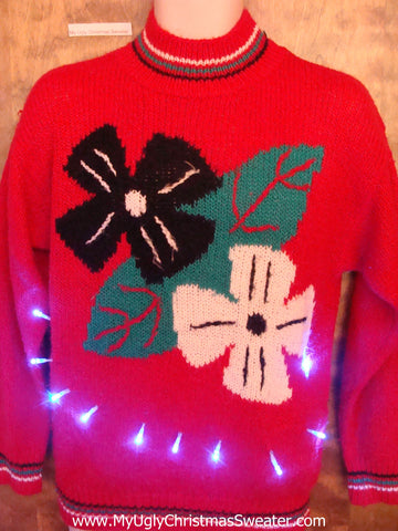 Horrible Crazy Poinsettias 80s Light Up Ugly Xmas Sweater
