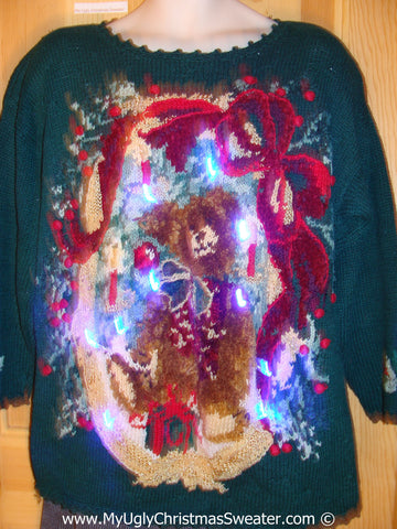 Tacky 80s Xmas Sweater with Lights Huge Bear Bow (g159)