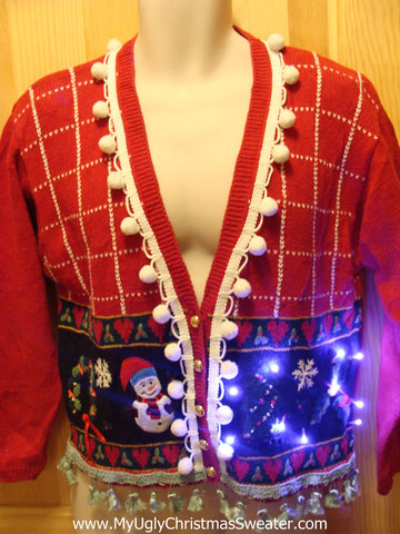 Tacky Ugly Christmas Sweater with Lights and Fringe. 80s Style with Padded Shoulders. (g15)