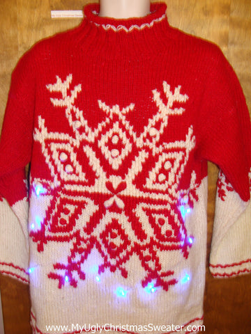 Vintage Nordic Snowflake Red Light Up Ugly Xmas Sweater