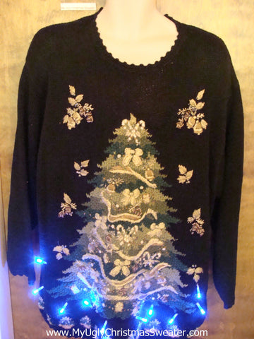 Festive 80s Tree Tacky Xmas Sweater with Lights