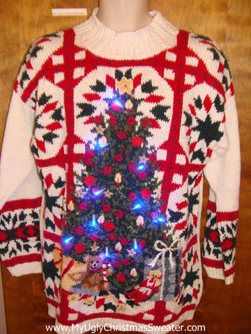 Ridiculous Horrible Tacky Xmas Sweater with Lights