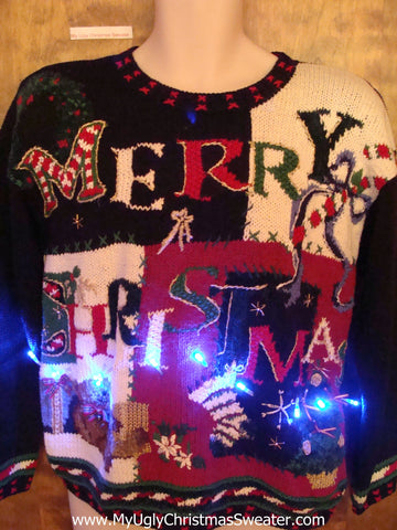 MERRY CHRISTMAS 80s Tacky Xmas Sweater with Lights