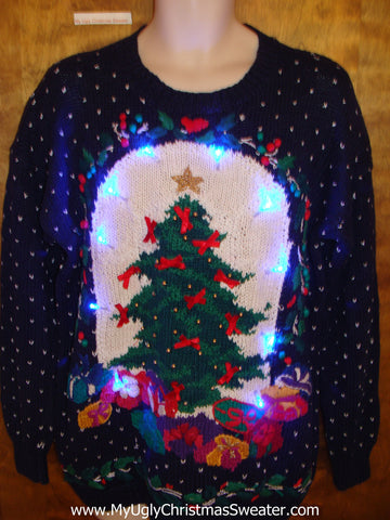 Two Sided 80s Blue Tacky Xmas Sweater with Lights