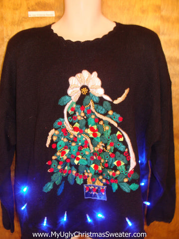 Horrific Tree Tacky Xmas Sweater with Lights