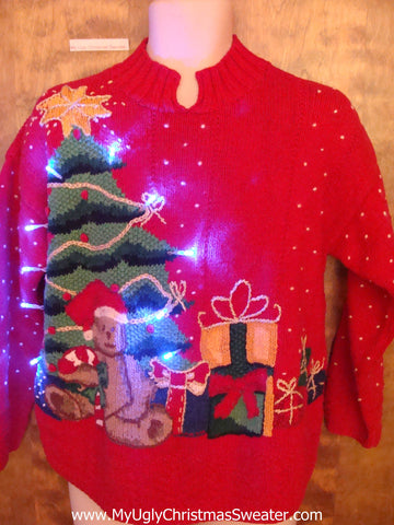 Tacky Red Xmas Sweater with Tree, Teddy Bear and Lights