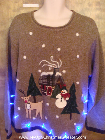 Cheesy Brown Tacky Xmas Sweater with Reindeer and Lights