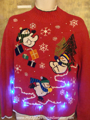 Funny Snowmen Tumbling Tacky Xmas Sweater with Lights
