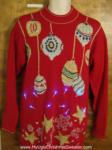 80s Bling Ornaments Acrylic Tacky Xmas Sweater with Lights