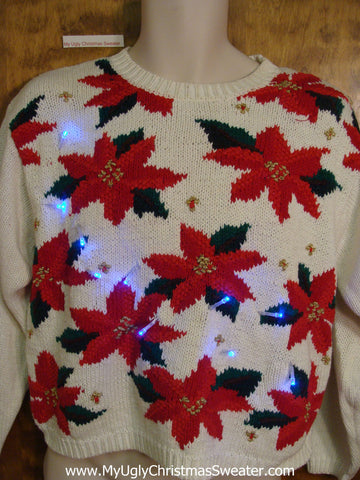 Poinsettia Party 80s Tacky Xmas Sweater with Lights