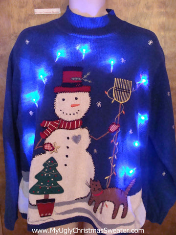 Happy Snowman and Cat Tacky Xmas Sweater with Lights
