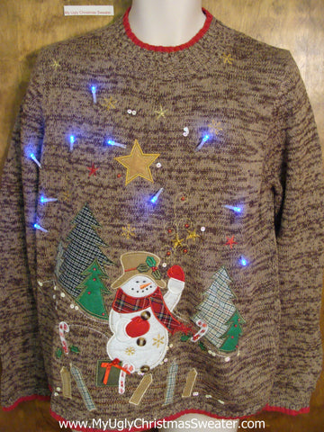 Snowman and Plaid Trees Brown Tacky Xmas Sweater with Lights