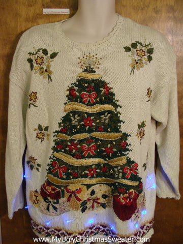 Tacky 80s Huge Tree Xmas Sweater with Lights