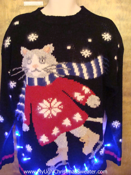 Best Skating Cat Tacky Xmas Sweater With Lights