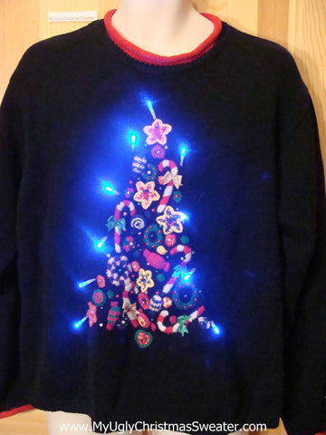 Light Up Christmas Sweater CandyCane Tree