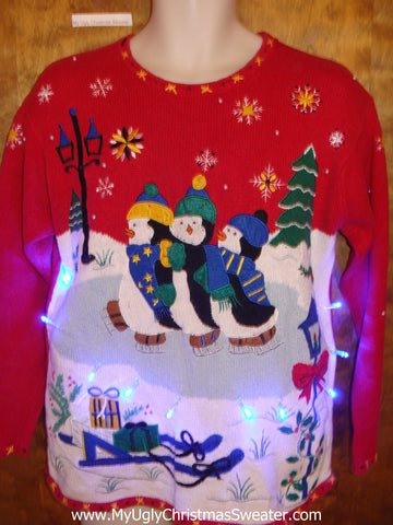 Skating Penguins Red Tacky Xmas Sweater with Lights