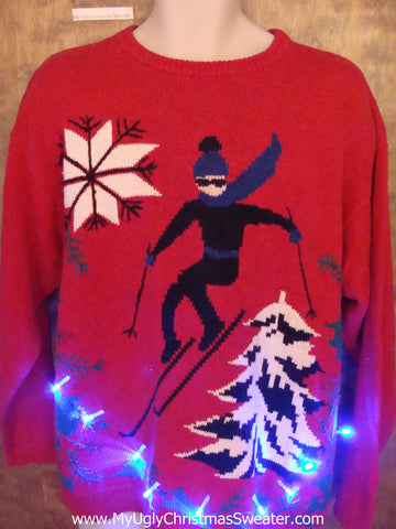 Vintage Ski Themed Tacky Xmas Sweater with Lights