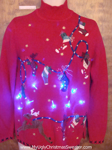 Red Stocking Clothesline Tacky Xmas Sweater with Lights