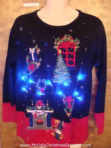 Twilight Zone Living Room Tacky Xmas Sweater with Lights