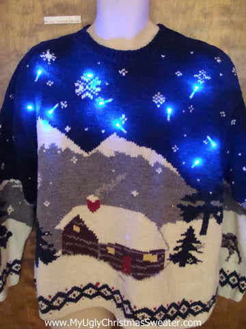 Classic Vintage Winter Scene Tacky Xmas Sweater with Lights