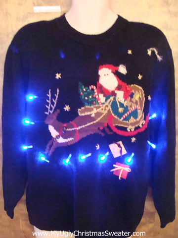 Flying Reindeer 80s Tacky Xmas Sweater with Lights