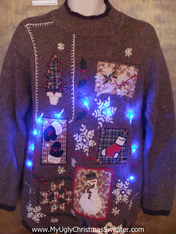 Horrible Brown Crafty Tacky Xmas Sweater with Lights