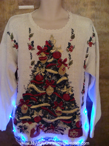 Tacky 80s Pullover with Tree Xmas Sweater with Lights