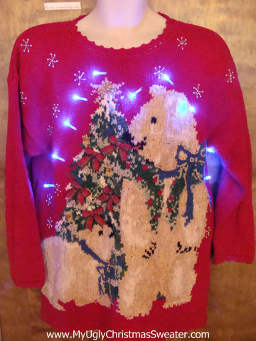 Tacky 80s Xmas Sweater with Bears and Lights