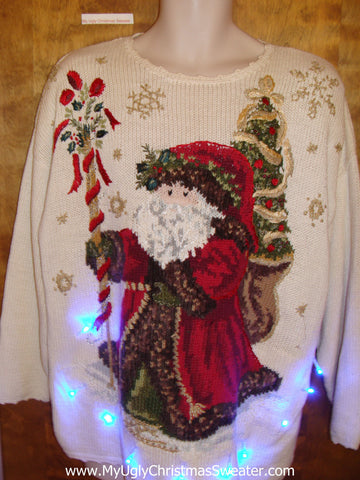 Tacky Fancy Santa 80s Xmas Sweater with Lights
