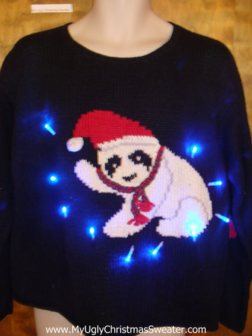 Bandit Panda Bear Tacky Xmas Sweater with Lights