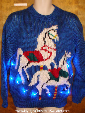 BEST 80s Carousel Horse Tacky Xmas Sweater with Lights