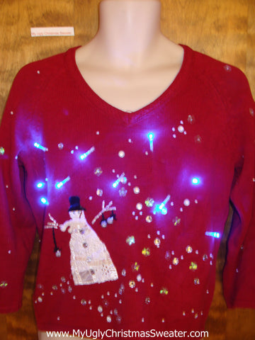 Snowman and Stars Red Tacky Xmas Sweater with Lights