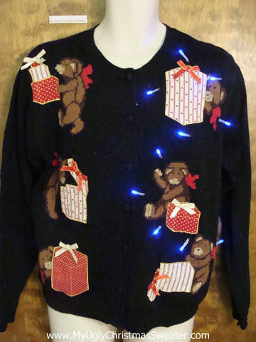 Gift Bearing Bears Tacky Xmas Sweater with Lights